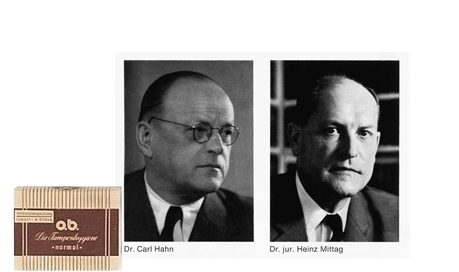 Imagine care conține poza produsului, portretul doctorului Carl Hahn si portretul avocatului Heinz Mittag.