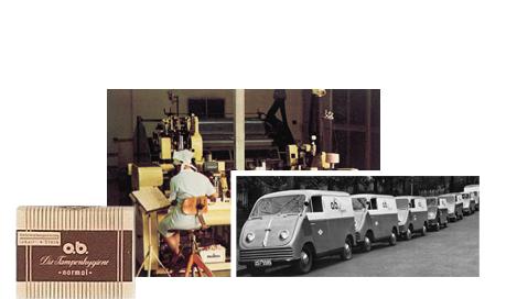 Imagine care conține poza produsului, poza din fabrica de tampoane și o poză cu mașinile care transportau produsele.