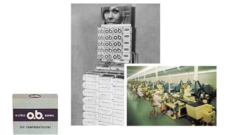 Imagine care conține poza produsului într-un nou ambalaj, poza din fabrica de tampoane și o poză cu produsele O.B. așezate într-un raft din supermarket.