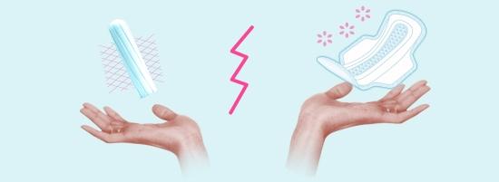 Fotografie cu două mâini cu un tampon intern în stânga şi unul extern în dreapta. Imaginea ilustrează diferitele beneficii ale acestor produse.
