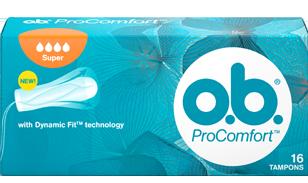 Imagine cu un pachet de tampoane O.B.® ProComfort™ Super. Produsul are patru picături, care indică faptul că este adecvat pentru zilele cu flux abundent spre foarte abundent.