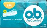 Imagine cu un pachet de tampoane O.B.® ProComfort™ Normal. Produsul are trei picături, care indică faptul că este adecvat pentru zilele cu flux mediu spre abundent.